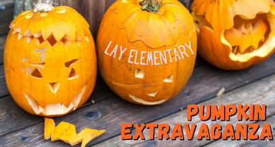 Three carved pumpkins with text overlay