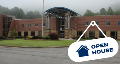 Open House logo for KCHS with school building in background